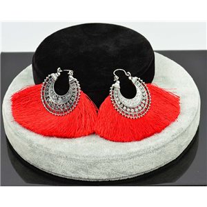 1p Earrings New Trends Pompon on metal Silver chiselled 76049
