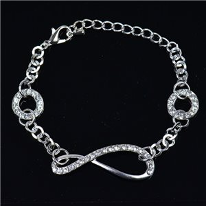Silver Color metal bracelet set with Rhinestones L19 cm The Best Collection Chic 76013