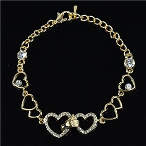 Bracelet métal Gold Color serti de Strass L19 cm The Best Collection Chic 76038