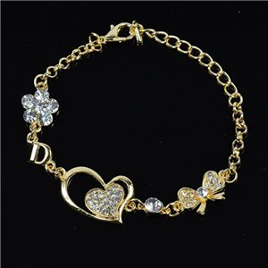 Bracelet métal Gold Color serti de Strass L19 cm The Best Collection Chic 76040