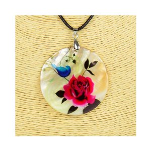 Collier Pendentif 5cm en Nacre naturelle Fashion Design L48cm New Collection 76206