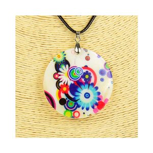 Collier Pendentif 5cm en Nacre naturelle Fashion Design L48cm New Collection 76209
