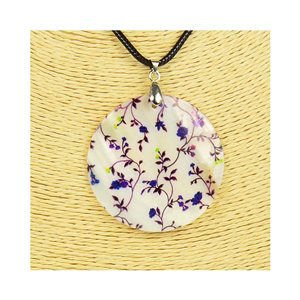 Collier Pendentif 5cm en Nacre naturelle Fashion Design L48cm New Collection 76217