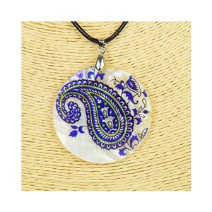 Pendant necklace 5 cm Natural Mother of Pearl Fashion Design L48cm New Collection 76223