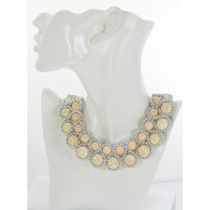 Riviere necklace cloisonne beads decor metal on L44cm 66169