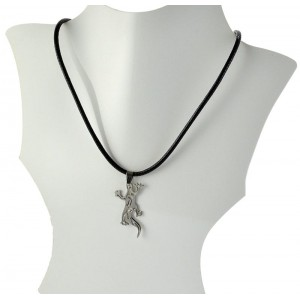 Necklace Pendant Brushed steel Shiny waxed cord on 66088