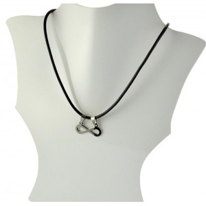 Necklace Pendant Brushed steel Shiny waxed cord on 66094