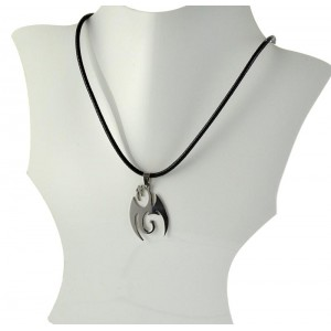 Necklace Pendant Brushed steel Shiny waxed cord on 66098