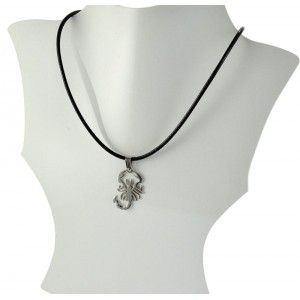 Necklace Pendant Brushed steel Shiny waxed cord on 66101