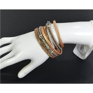 Chic Leather Bracelet Fashion appearance and Rhinestone Clasp Magnetic L39cm 67104