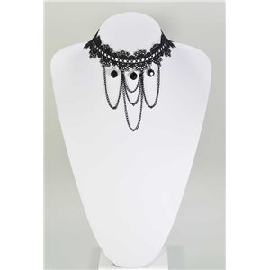 Ras necklace Neck Black Lace and Beads L32-40cm 67362