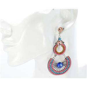 1p Boucles Oreilles CYBELE Full Strass Silver Collection Vintage 68735