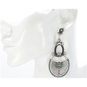 1p Boucles Oreilles CYBELE Full Strass Silver Collection Vintage 68737