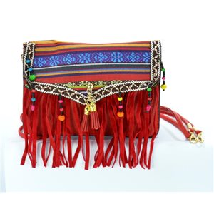Woman wallet leather look and Fringes Pompon 18 * 13cm Ethnic Fabrics Collection 68784