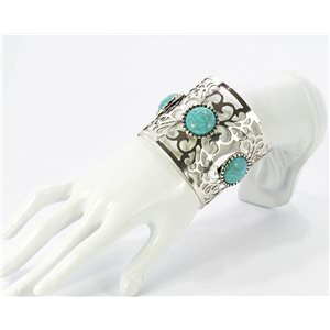 Beautiful Bracelet XXL silver metal set with Turquoise Fashion Chic 68789