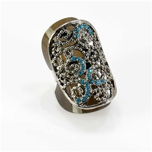 Bague Strass réglable Full Strass SILVER Vintage Collection 67752