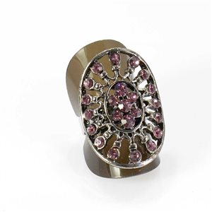 Adjustable Rhinestone Ring Full Rhinestone Vintage Collection SILVER 67985