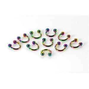 10 piercings circular 2 balls rainbow d1.2mm l6mm surgical steel 68902
