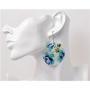 1p Boucles Oreilles en nacre naturelle Collection Fashion Design 69578