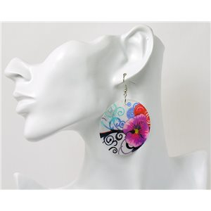 1p Boucles Oreilles en nacre naturelle Collection Fashion Design 69586