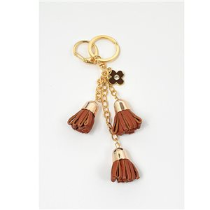 Key golden metal door set with Rhinestones leather look bag pompoms Jewelry 71322