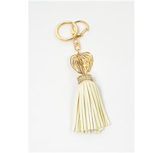 Gold metal door keys set with Rhinestones Bag Jewelry Heart Watermark tassel leather look 71324