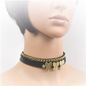 Necklace leather and rhinestone choker new collection 2017 2017 L32-40cm 71690