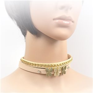 Necklace leather and rhinestone choker new collection 2017 2017 L32-40cm 71694