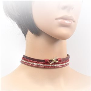 Necklace leather and rhinestone choker new collection 2017 2017 L32-40cm 71710