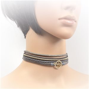 Necklace leather and rhinestone choker new collection 2017 2017 L32-40cm 71737