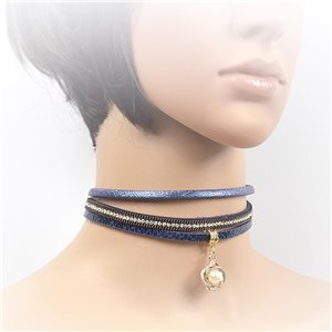 Necklace leather and rhinestone choker new collection 2017 2017 L32-40cm 71727