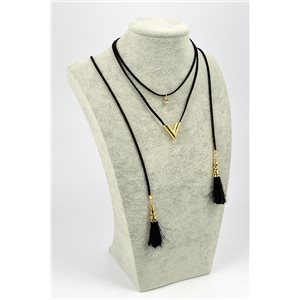 Necklace Appearance Velvet look L32 / 37cm + lace 1m20 72355