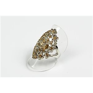 Adjustable ring Full Strass on metal silver color New Collection 72712
