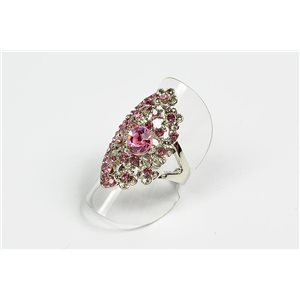 Adjustable ring Full Strass on metal silver color New Collection 72713