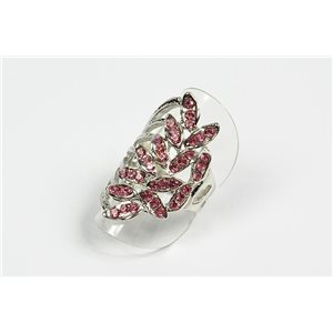 Adjustable ring Full Strass on metal silver color New Collection 72733