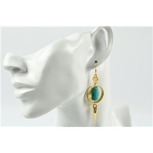 1p Earrings Metallic Earrings Color Gold Gemstone Collection MilaLina 73184