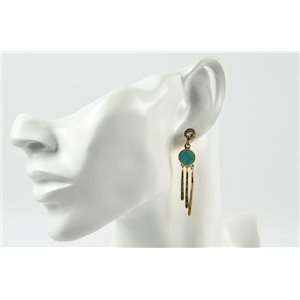 1p Earrings Metal Earrings Color Gold Nail Reconstituted Stone Collection MilaLina 73188