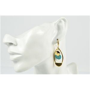 1p Earrings Metallic Earrings Color Gold Gemstone Collection MilaLina 73192