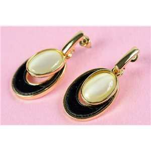 1p metal earrings gold color with imitation pearl stud on strass collection chic 73166