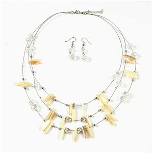 Parure Pendant Necklace 3 Range of Faceted Pearls and Mother of Pearl and Rhinestone Jewelry 73374