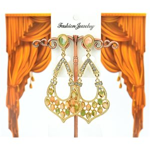 1p earrings studded with Rhinestones Collection ATHENA 8cm 75220