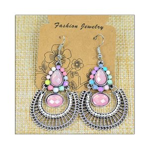 1p Earrings ATHENA silver plated metal set with Rhinestones New Ethnic Collection 75479