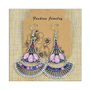 1p Earrings ATHENA silver plated metal set with Rhinestones New Ethnic Collection 75482