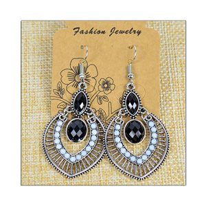 1p Earrings ATHENA silver plated metal set with Rhinestones New Ethnic Collection 75487