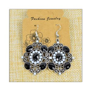 1p Earrings ATHENA silver plated metal set with Rhinestones New Ethnic Collection 75496