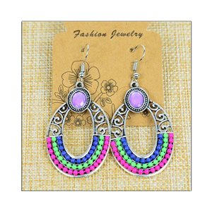 1p Earrings ATHENA silver plated metal set with Rhinestones New Ethnic Collection 75498