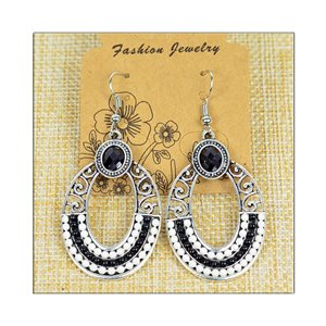 1p Earrings ATHENA silver plated metal set with Rhinestones New Ethnic Collection 75499