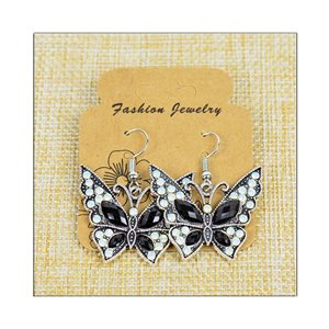 1p Earrings ATHENA silver plated metal set with Rhinestones New Ethnic Collection 75505