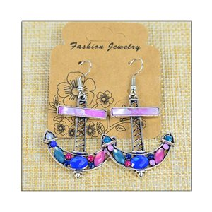 1p Earrings ATHENA silver plated metal set with Rhinestones New Ethnic Collection 75511