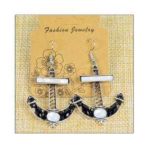 1p Earrings ATHENA silver plated metal set with Rhinestones New Ethnic Collection 75512